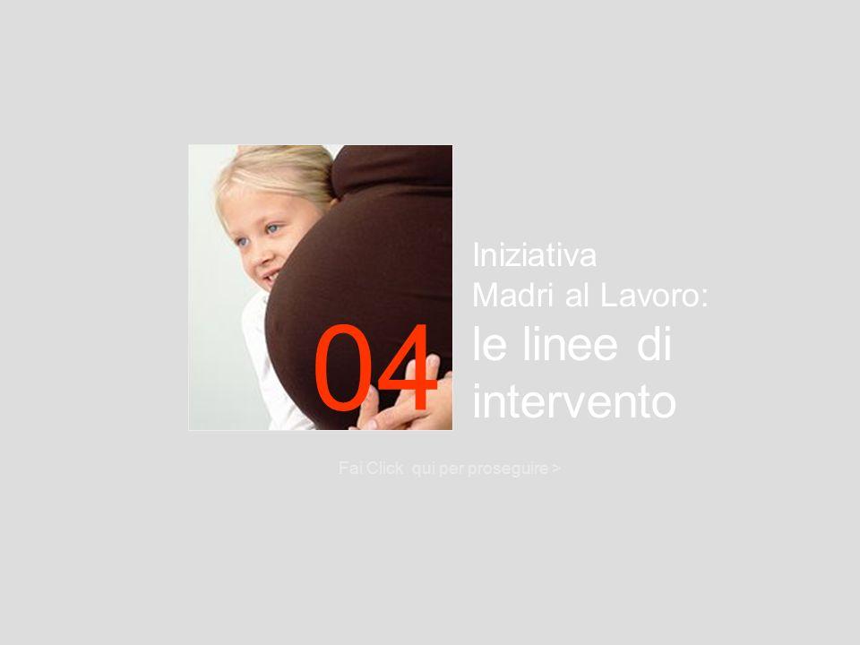 Iniziativa Madri al Lavoro: le linee di intervento Fai Click qui per proseguire > 04