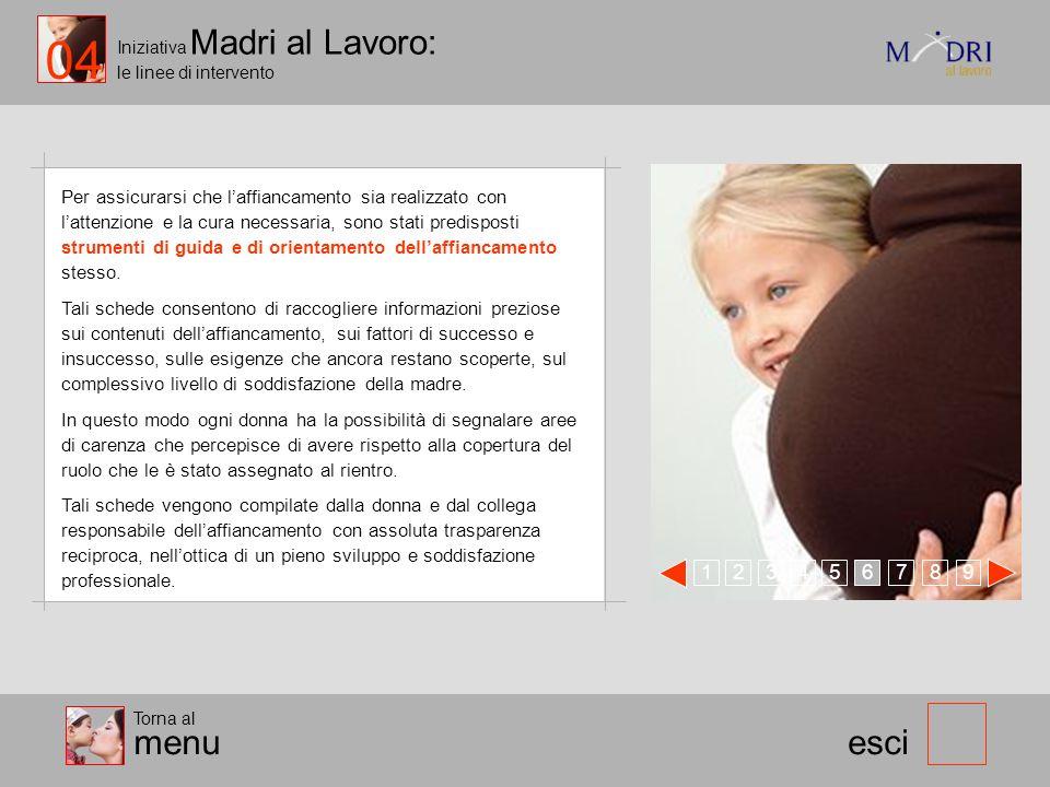 Iniziativa Madri al Lavoro: le linee di intervento 123 esci Per assicurarsi che laffiancamento sia realizzato con lattenzione e la cura necessaria, so