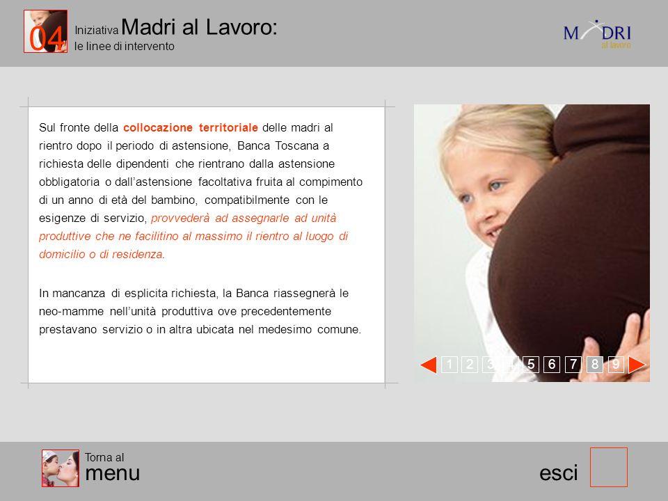 Iniziativa Madri al Lavoro: le linee di intervento 123 esci Sul fronte della collocazione territoriale delle madri al rientro dopo il periodo di asten