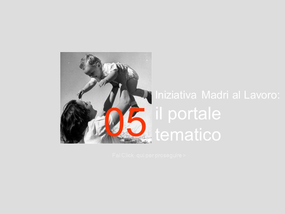Iniziativa Madri al Lavoro: il portale tematico Fai Click qui per proseguire > 05