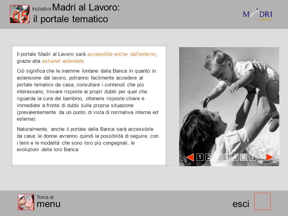 Iniziativa Madri al Lavoro: il portale tematico esci Il portale Madri al Lavoro sarà accessibile anche dallesterno, grazie alla extranet aziendale. Ci