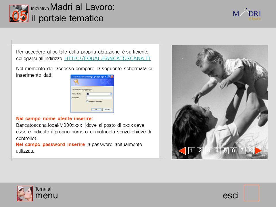 Iniziativa Madri al Lavoro: il portale tematico esci 05 Torna al menu 123 478 56 Per accedere al portale dalla propria abitazione è sufficiente colleg
