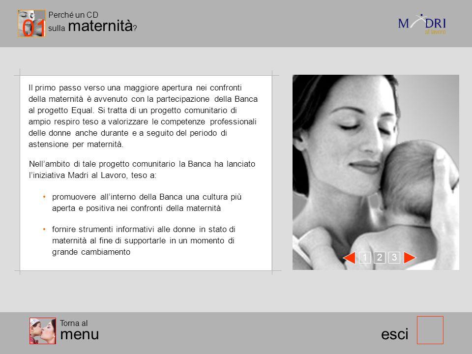Il primo passo verso una maggiore apertura nei confronti della maternità è avvenuto con la partecipazione della Banca al progetto Equal. Si tratta di