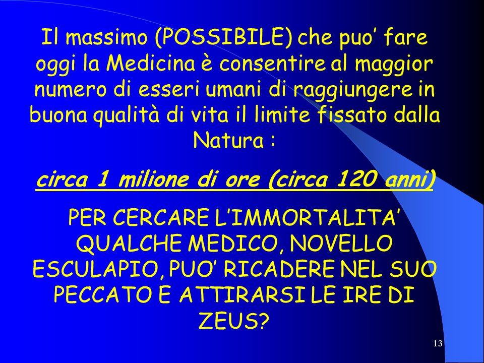 13 Il massimo (POSSIBILE) che puo fare oggi la Medicina è consentire al maggior numero di esseri umani di raggiungere in buona qualità di vita il limi