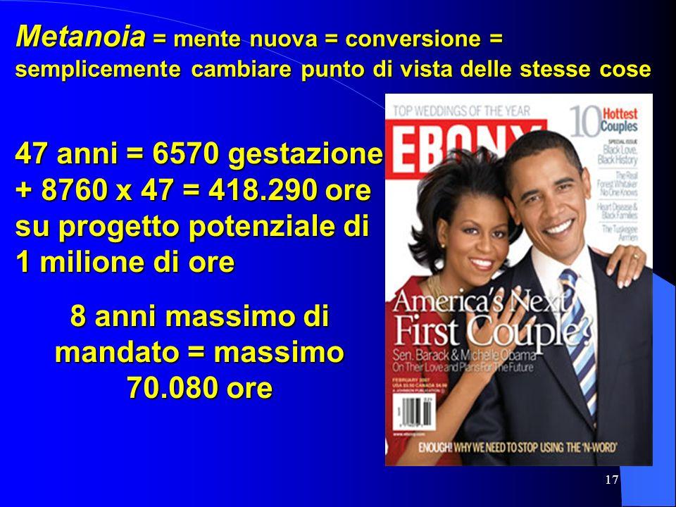 17 Metanoia = mente nuova = conversione = semplicemente cambiare punto di vista delle stesse cose 47 anni = 6570 gestazione + 8760 x 47 = 418.290 ore