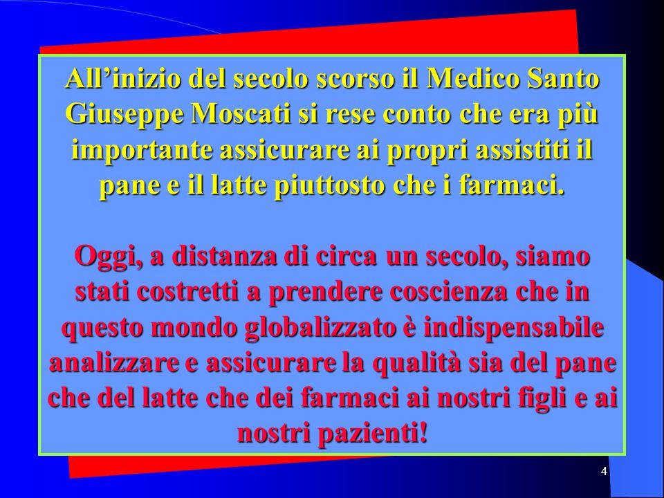 4 Allinizio del secolo scorso il Medico Santo Giuseppe Moscati si rese conto che era più importante assicurare ai propri assistiti il pane e il latte