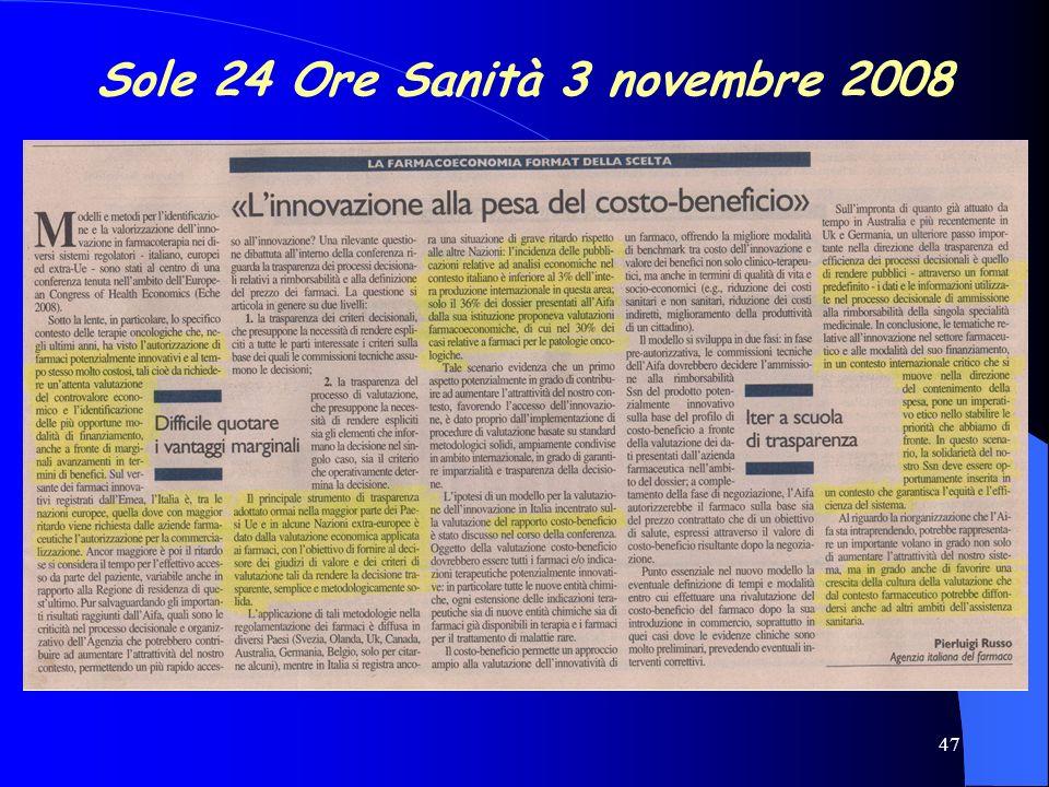 47 Sole 24 Ore Sanità 3 novembre 2008