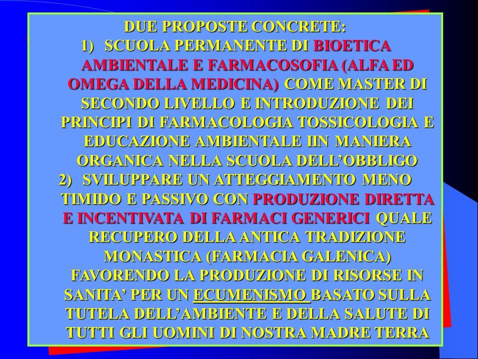 50 DUE PROPOSTE CONCRETE: 1)SCUOLA PERMANENTE DI BIOETICA AMBIENTALE E FARMACOSOFIA (ALFA ED OMEGA DELLA MEDICINA) COME MASTER DI SECONDO LIVELLO E IN