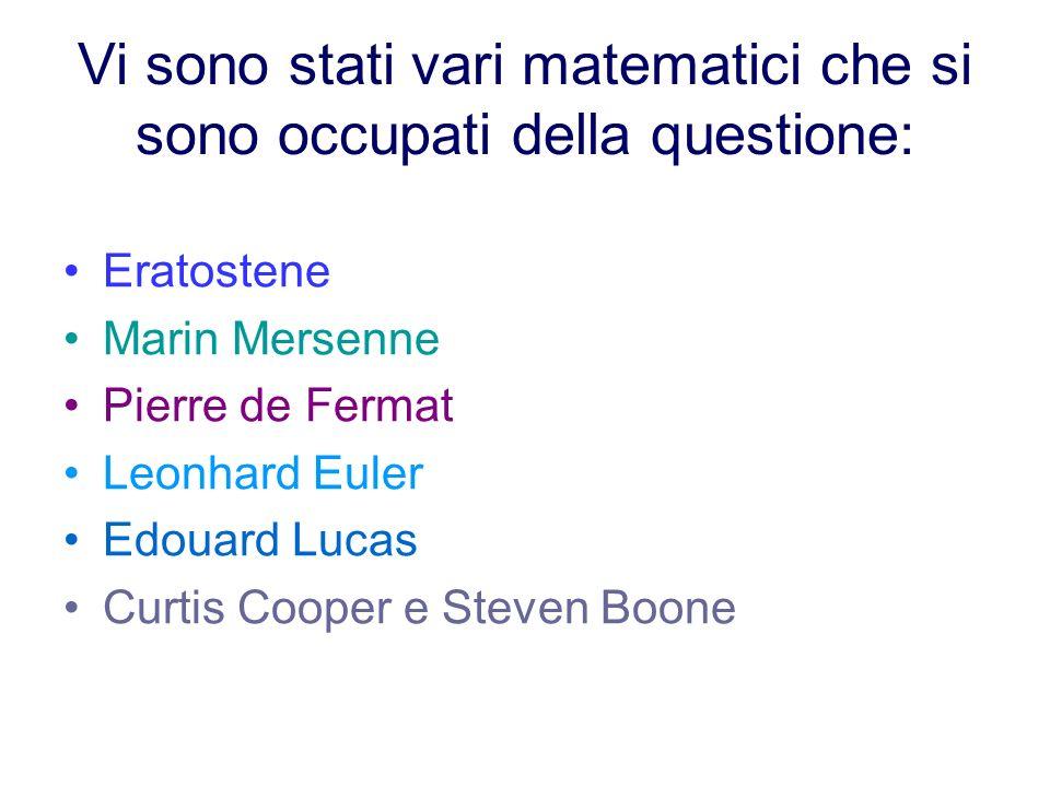 Vi sono stati vari matematici che si sono occupati della questione: Eratostene Marin Mersenne Pierre de Fermat Leonhard Euler Edouard Lucas Curtis Coo