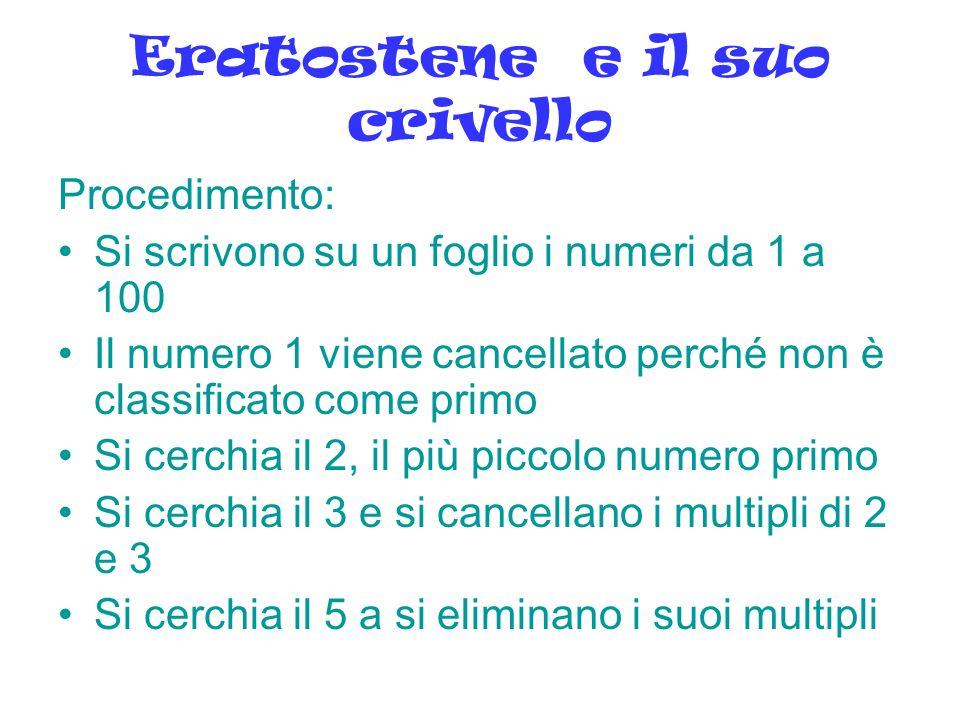 Eratostene e il suo crivello Procedimento: Si scrivono su un foglio i numeri da 1 a 100 Il numero 1 viene cancellato perché non è classificato come pr