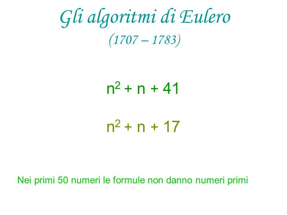 Gli algoritmi di Eulero ( 1707 – 1783) n 2 + n + 41 n 2 + n + 17 Nei primi 50 numeri le formule non danno numeri primi