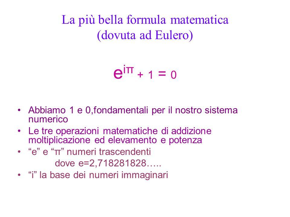 La più bella formula matematica (dovuta ad Eulero) e iπ + 1 = 0 Abbiamo 1 e 0,fondamentali per il nostro sistema numerico Le tre operazioni matematich
