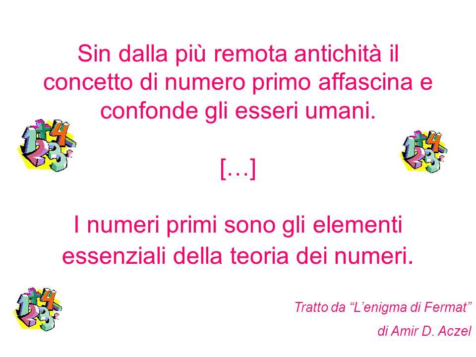 Sin dalla più remota antichità il concetto di numero primo affascina e confonde gli esseri umani. […] I numeri primi sono gli elementi essenziali dell