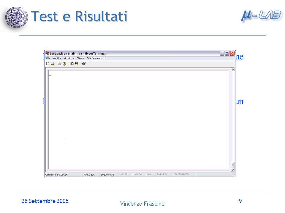 Vincenzo Frascino 28 Settembre 200510 Conclusioni Il lavoro svolto consente di poter dire che è possibile supportare lo hardware dell intera scheda.