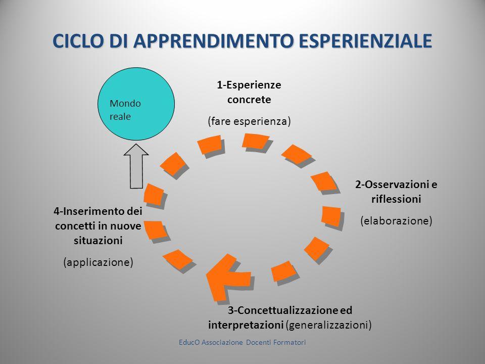 CICLO DI APPRENDIMENTO ESPERIENZIALE Mondo reale 1-Esperienze concrete (fare esperienza) 2-Osservazioni e riflessioni (elaborazione) 3-Concettualizzaz