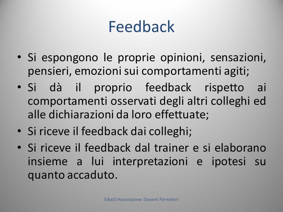 Feedback Si espongono le proprie opinioni, sensazioni, pensieri, emozioni sui comportamenti agiti; Si dà il proprio feedback rispetto ai comportamenti