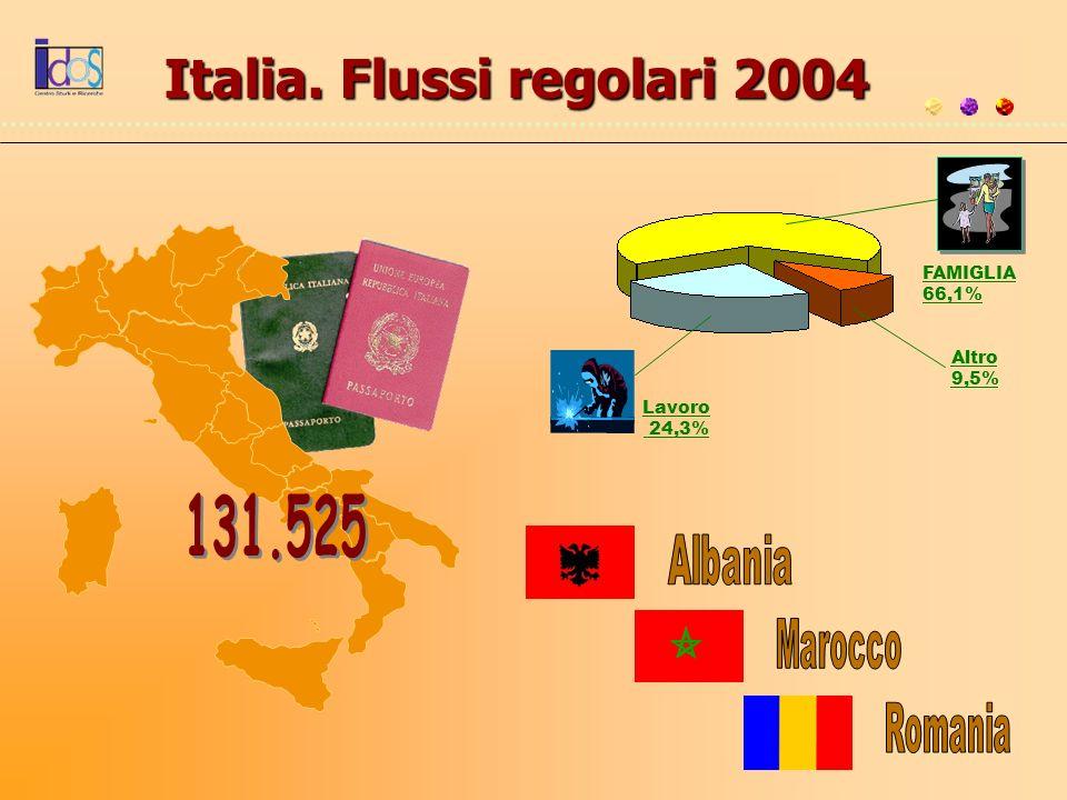 Italia. Flussi regolari 2004 Altro 9,5% FAMIGLIA 66,1% Lavoro 24,3%