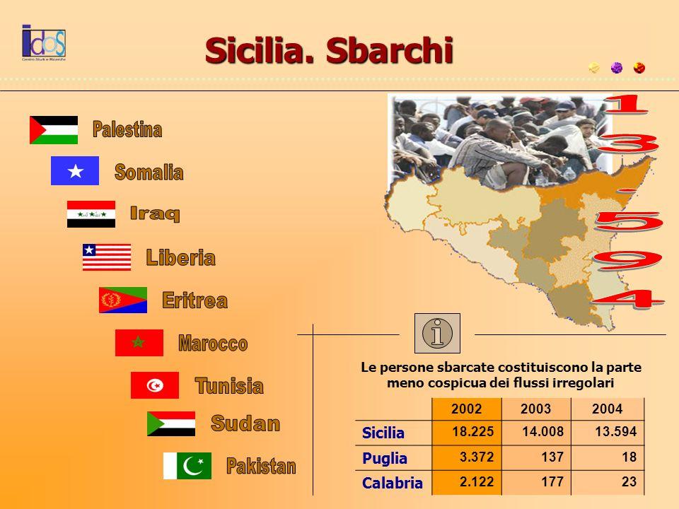 200220032004 Sicilia 18.22514.00813.594 Puglia 3.37213718 Calabria 2.12217723 Le persone sbarcate costituiscono la parte meno cospicua dei flussi irre