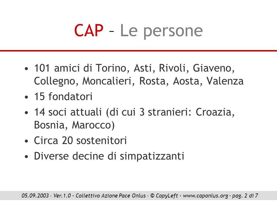 CAP – Le persone 101 amici di Torino, Asti, Rivoli, Giaveno, Collegno, Moncalieri, Rosta, Aosta, Valenza 15 fondatori 14 soci attuali (di cui 3 strani