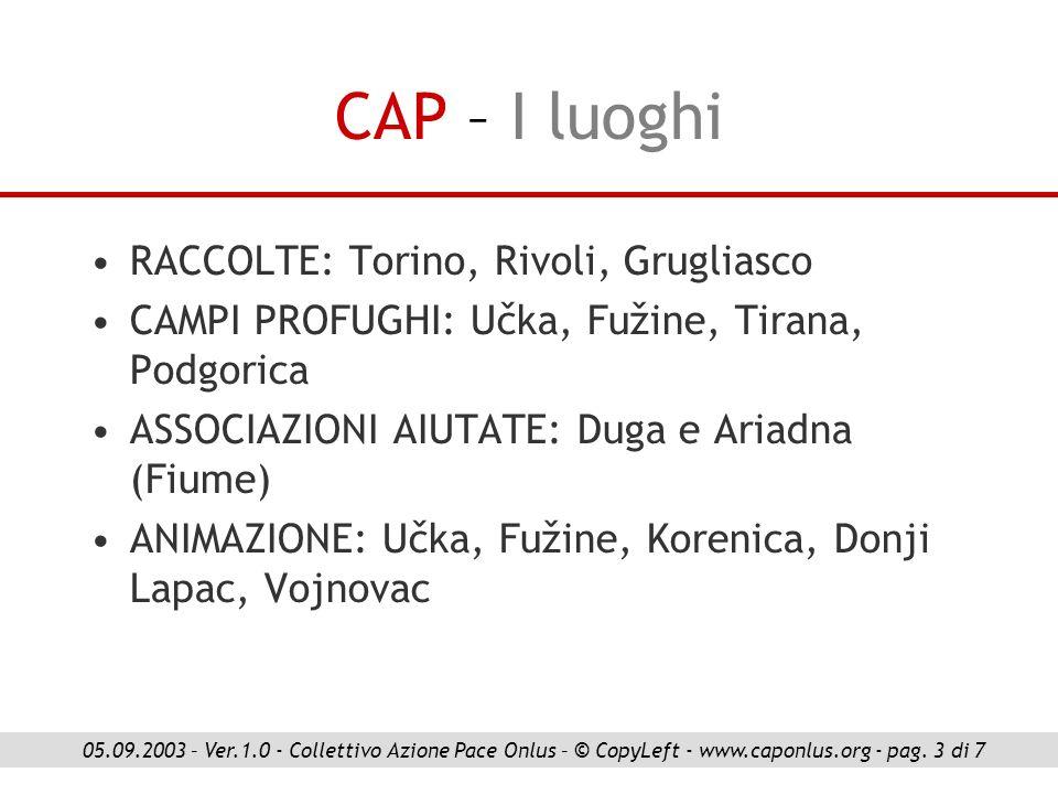 CAP – I luoghi RACCOLTE: Torino, Rivoli, Grugliasco CAMPI PROFUGHI: Učka, Fužine, Tirana, Podgorica ASSOCIAZIONI AIUTATE: Duga e Ariadna (Fiume) ANIMA