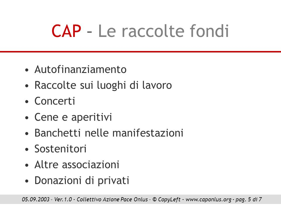 CAP – Le collaborazioni Ass.