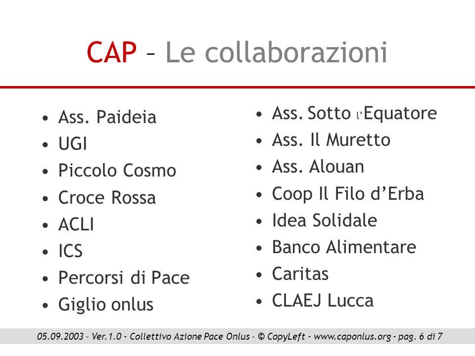 CAP – Le collaborazioni Ass. Paideia UGI Piccolo Cosmo Croce Rossa ACLI ICS Percorsi di Pace Giglio onlus 05.09.2003 – Ver.1.0 - Collettivo Azione Pac