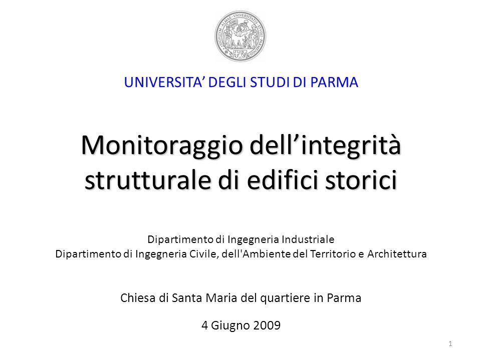 Monitoraggio dellintegrità strutturale di edifici storici UNIVERSITA DEGLI STUDI DI PARMA Monitoraggio dellintegrità strutturale di edifici storici Di