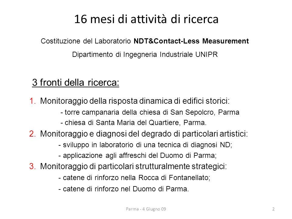 16 mesi di attività di ricerca 2 Costituzione del Laboratorio NDT&Contact-Less Measurement Dipartimento di Ingegneria Industriale UNIPR 3 fronti della