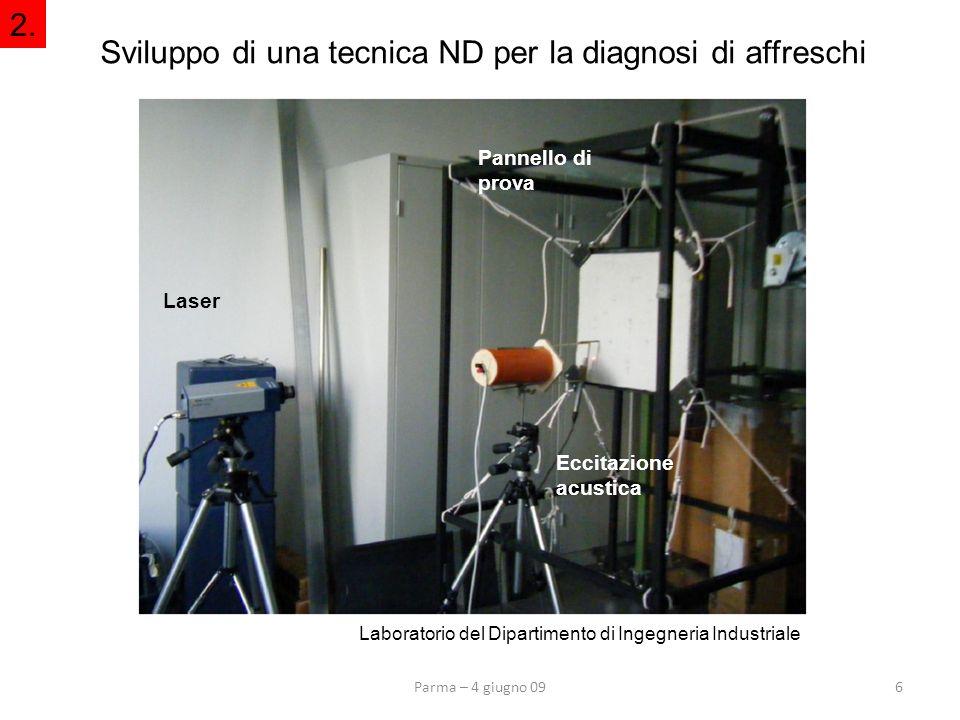Parma – 4 giugno 096 Sviluppo di una tecnica ND per la diagnosi di affreschi 2. Laboratorio del Dipartimento di Ingegneria Industriale Eccitazione acu