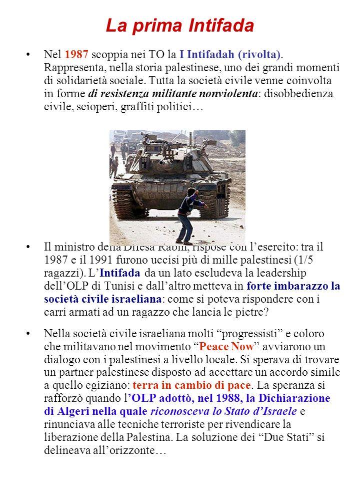 La prima Intifada Nel 1987 scoppia nei TO la I Intifadah (rivolta). Rappresenta, nella storia palestinese, uno dei grandi momenti di solidarietà socia