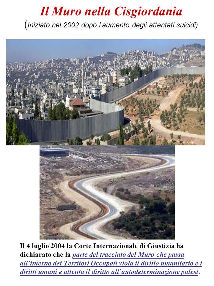 Il Muro nella Cisgiordania ( Iniziato nel 2002 dopo laumento degli attentati suicidi) Il 4 luglio 2004 la Corte Internazionale di Giustizia ha dichiar