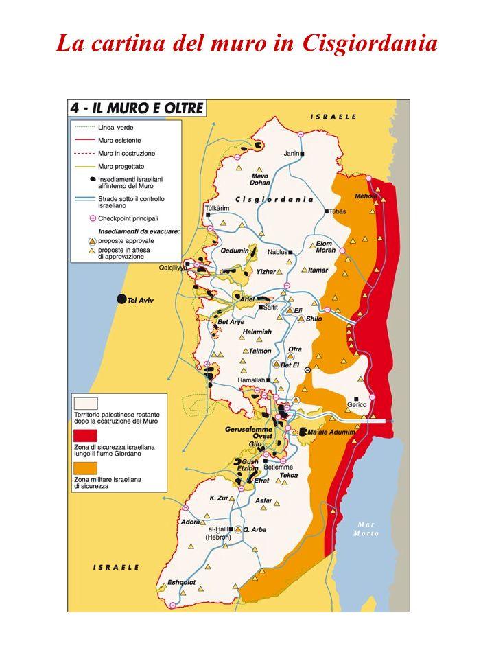 La cartina del muro in Cisgiordania