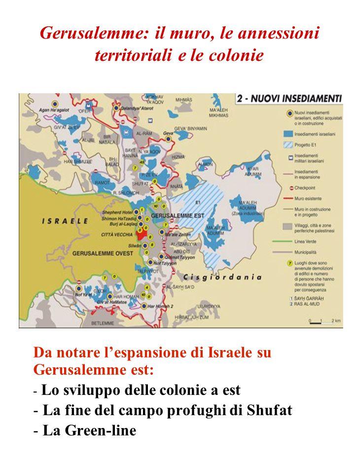 Gerusalemme: il muro, le annessioni territoriali e le colonie Da notare lespansione di Israele su Gerusalemme est: - Lo sviluppo delle colonie a est -