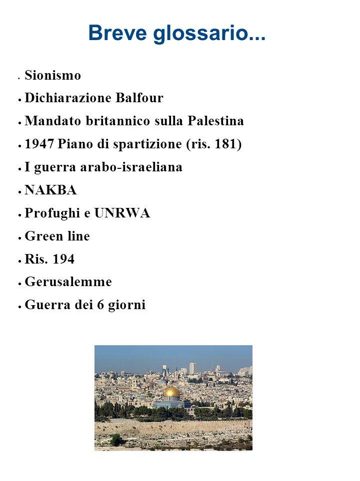Breve glossario... Sionismo Dichiarazione Balfour Mandato britannico sulla Palestina 1947 Piano di spartizione (ris. 181) I guerra arabo-israeliana NA