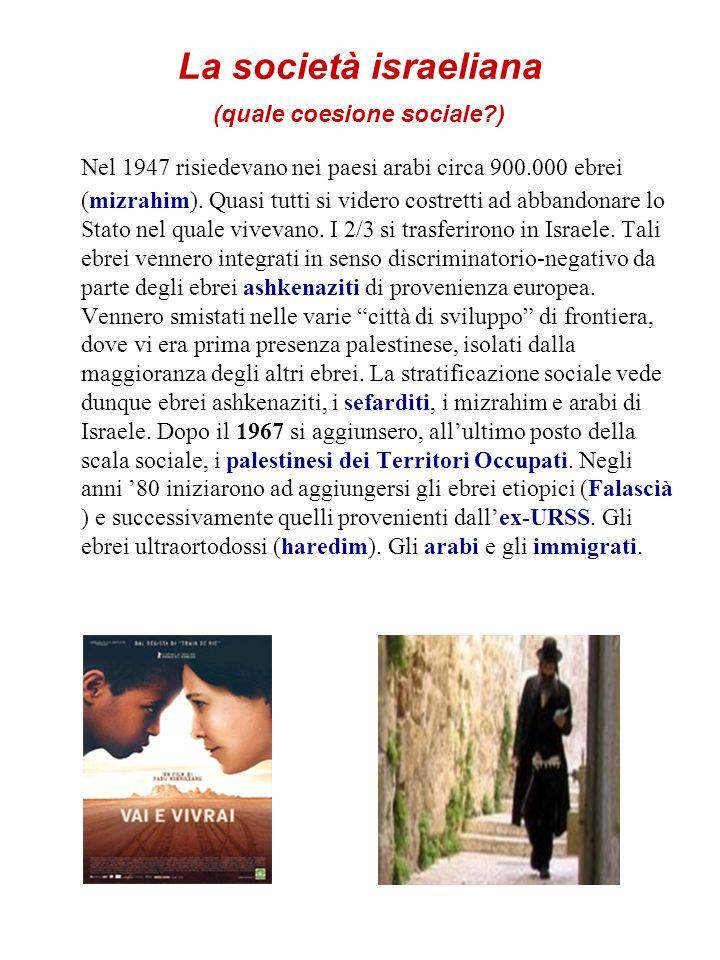 La società israeliana (quale coesione sociale?) Nel 1947 risiedevano nei paesi arabi circa 900.000 ebrei (mizrahim). Quasi tutti si videro costretti a