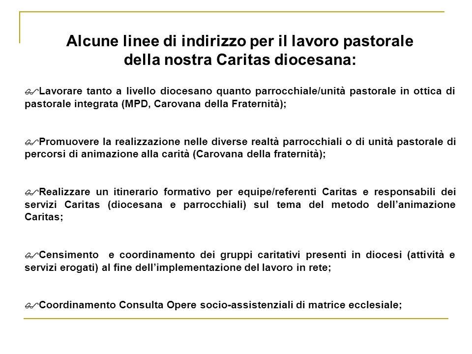 Alcune linee di indirizzo per il lavoro pastorale della nostra Caritas diocesana: Lavorare tanto a livello diocesano quanto parrocchiale/unità pastora