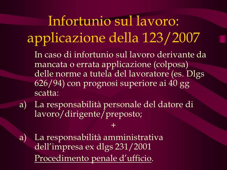 Infortunio sul lavoro: applicazione della 123/2007 In caso di infortunio sul lavoro derivante da mancata o errata applicazione (colposa) delle norme a