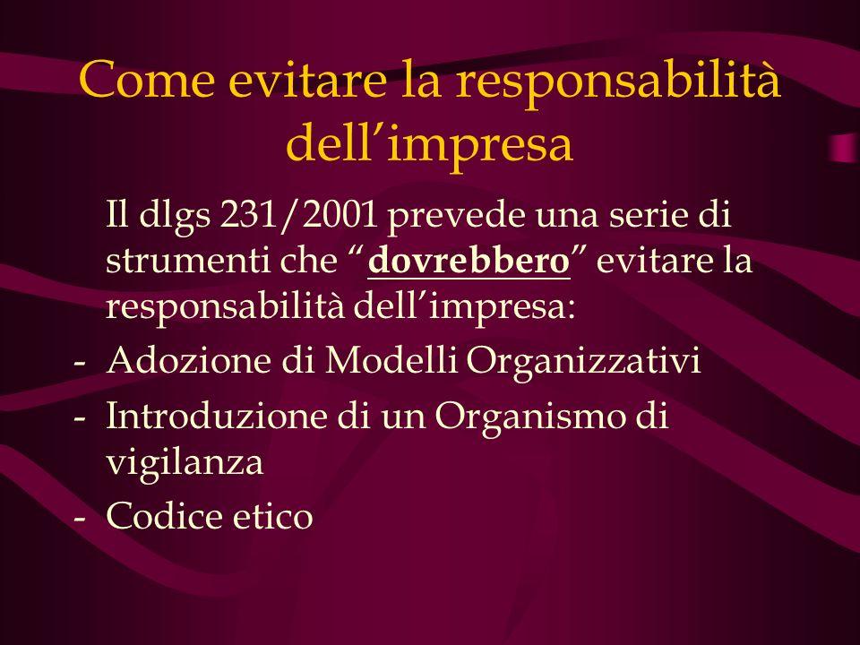 Come evitare la responsabilità dellimpresa Il dlgs 231/2001 prevede una serie di strumenti che dovrebbero evitare la responsabilità dellimpresa: -Adoz