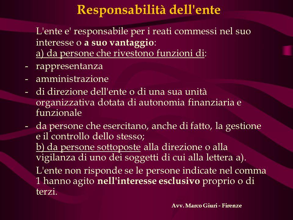 Responsabilità dell'ente L'ente e' responsabile per i reati commessi nel suo interesse o a suo vantaggio : a) da persone che rivestono funzioni di: -r