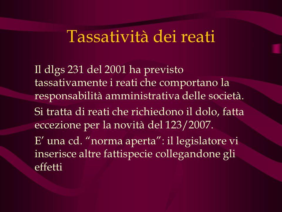 Tassatività dei reati Il dlgs 231 del 2001 ha previsto tassativamente i reati che comportano la responsabilità amministrativa delle società. Si tratta