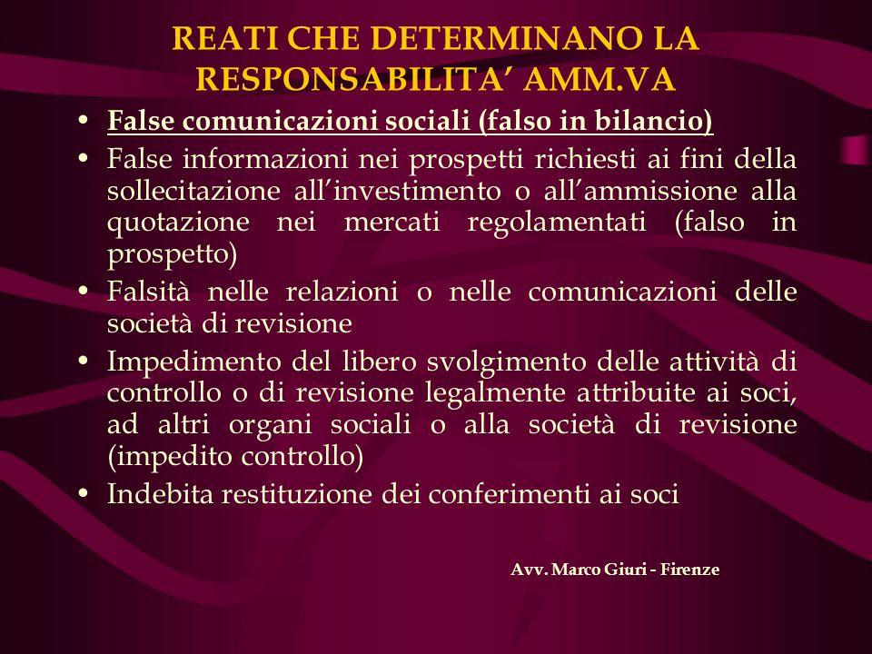 REATI CHE DETERMINANO LA RESPONSABILITA AMM.VA False comunicazioni sociali (falso in bilancio) False informazioni nei prospetti richiesti ai fini dell