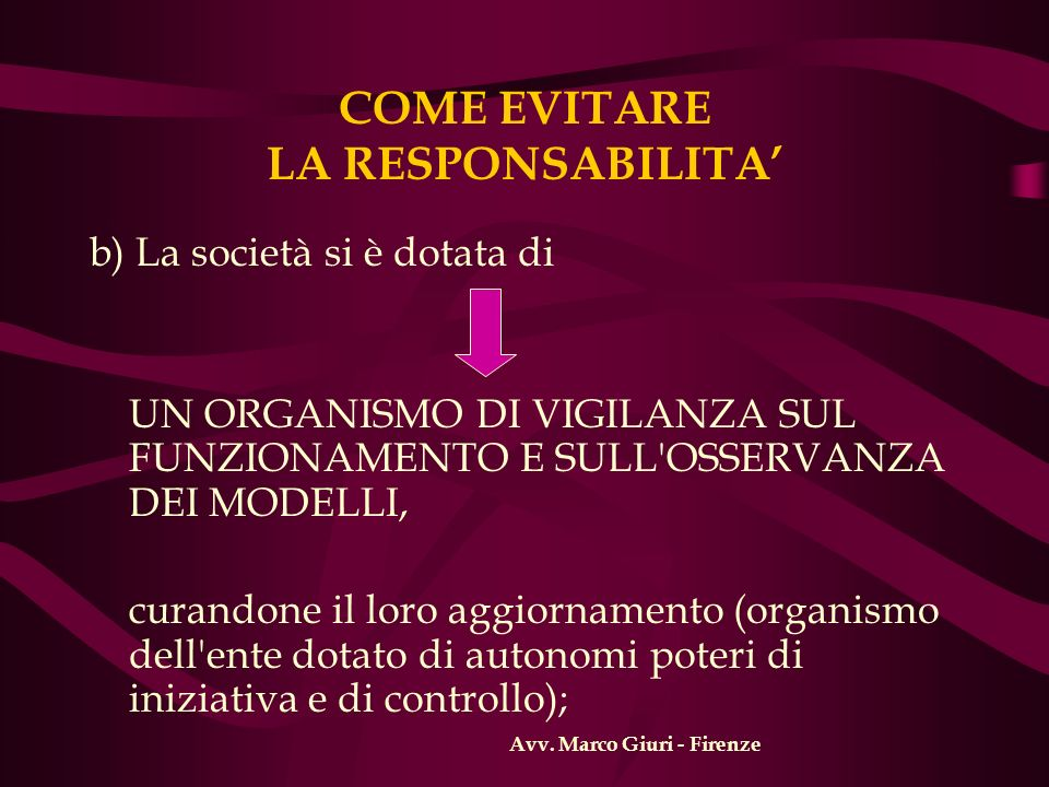 COME EVITARE LA RESPONSABILITA b) La società si è dotata di UN ORGANISMO DI VIGILANZA SUL FUNZIONAMENTO E SULL'OSSERVANZA DEI MODELLI, curandone il lo