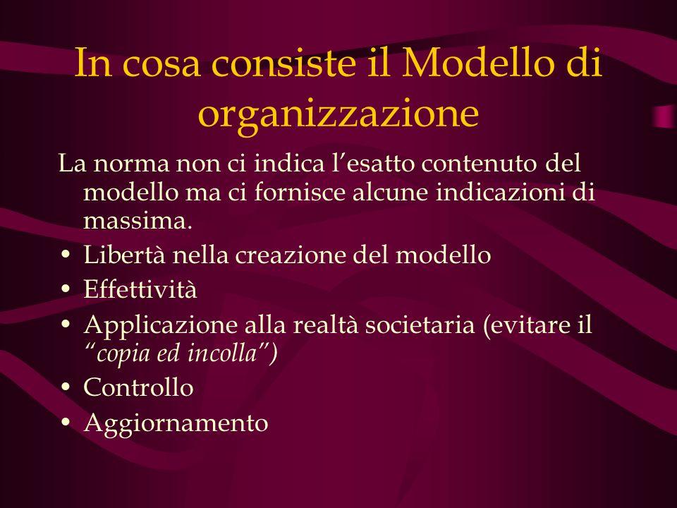 In cosa consiste il Modello di organizzazione La norma non ci indica lesatto contenuto del modello ma ci fornisce alcune indicazioni di massima. Liber