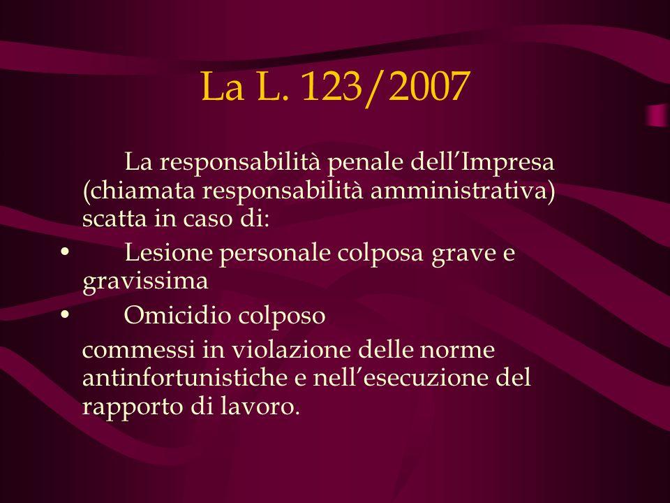 La L. 123/2007 La responsabilità penale dellImpresa (chiamata responsabilità amministrativa) scatta in caso di: Lesione personale colposa grave e grav
