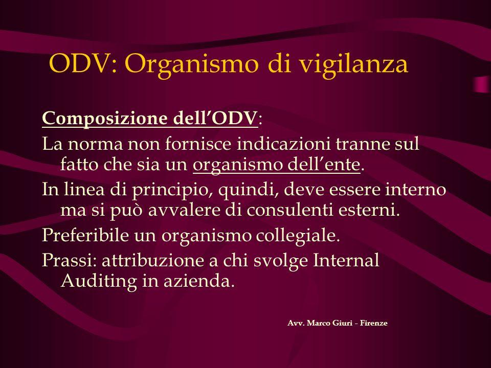 ODV: Organismo di vigilanza Composizione dellODV : La norma non fornisce indicazioni tranne sul fatto che sia un organismo dellente. In linea di princ