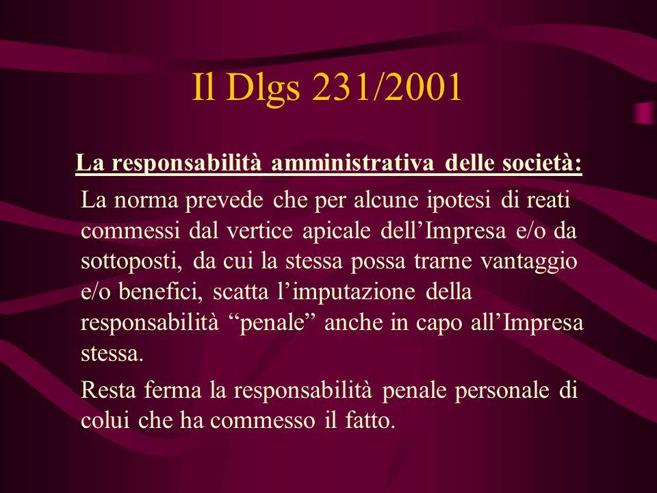 Il Dlgs 231/2001 La responsabilità amministrativa delle società: La norma prevede che per alcune ipotesi di reati commessi dal vertice apicale dellImp
