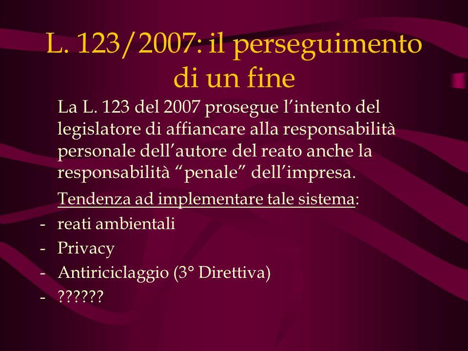 L. 123/2007: il perseguimento di un fine La L. 123 del 2007 prosegue lintento del legislatore di affiancare alla responsabilità personale dellautore d
