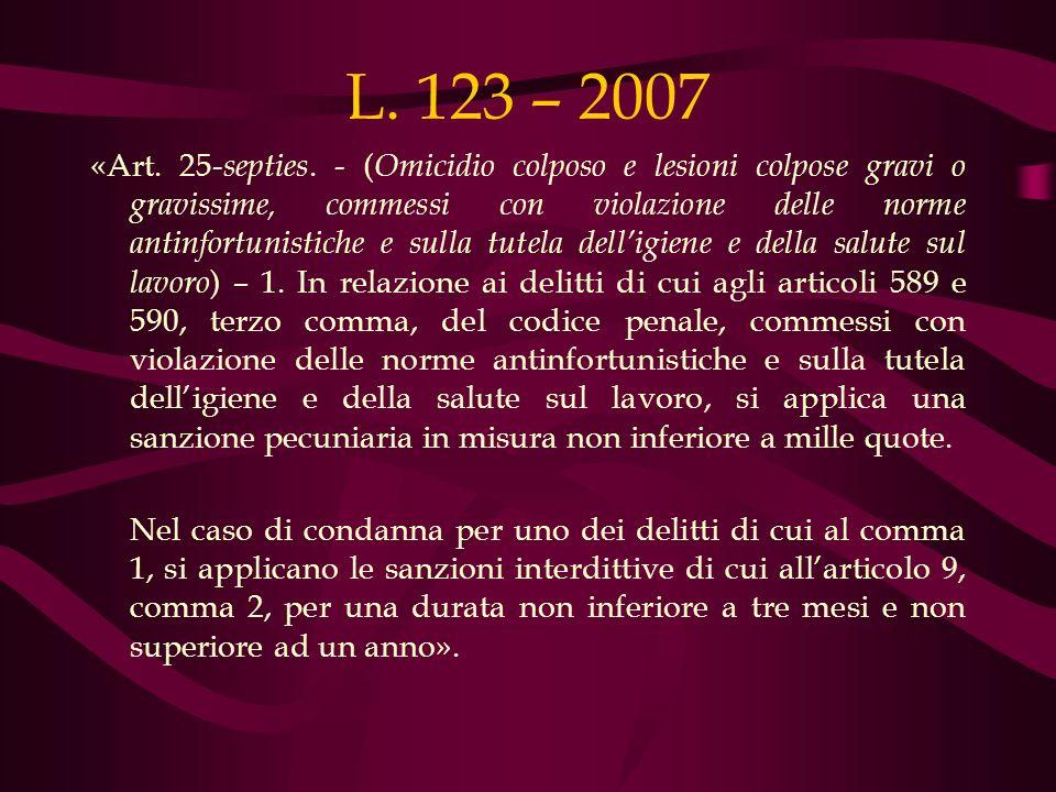 L. 123 – 2007 «Art. 25- septies. - ( Omicidio colposo e lesioni colpose gravi o gravissime, commessi con violazione delle norme antinfortunistiche e s