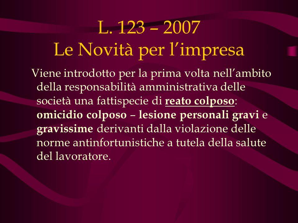 L. 123 – 2007 Le Novità per limpresa Viene introdotto per la prima volta nellambito della responsabilità amministrativa delle società una fattispecie