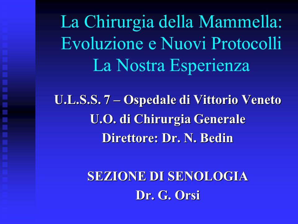 Ricerca del linfonodo sentinella EsitoN°% Positiva1417,3 Negativa6681,5 Inadeguata11,2 Totale81100